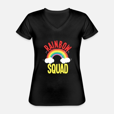 Squad Rainbow unicorn horse magical gift - Classic Women's V-Neck T-Shirt