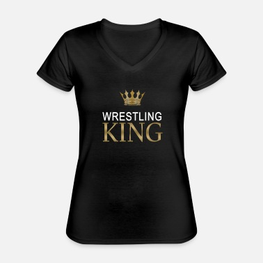 King Queen Wrestling King - Maglietta da donna classica con scollo a V