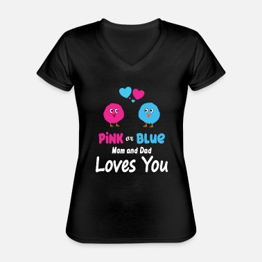 Pregnant Pink Blue Mom and Dad Loves You Gift - Classic Women's V-Neck T-Shirt