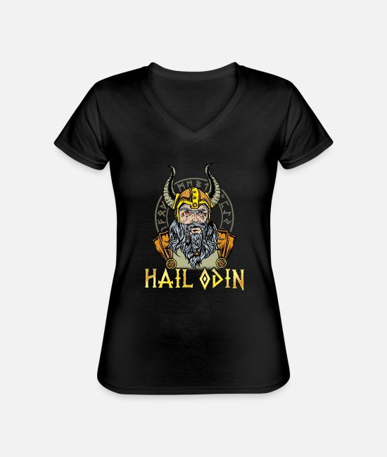 Honor T-Shirts - Hail Odin T-Shirt Viking beard pride force honor - Classic Women's V-Neck T-Shirt black