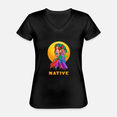 Navajo Navajo Indigenous Strong Proud Female Native - Classic Women's V-Neck T-Shirt