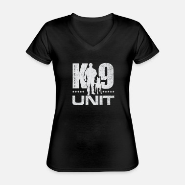 Working K-9 Unit -Police Dog Unit- Malinois - Classic Women's V-Neck T-Shirt