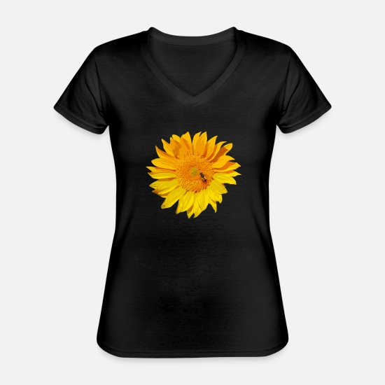 Blume T-Shirts - sunflower - Classic Women's V-Neck T-Shirt black