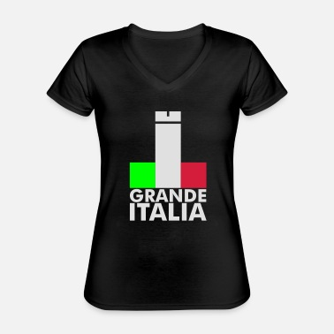 Football Underwear Italia Italy flag - grande italia - provocative - Classic Women's V-Neck T-Shirt