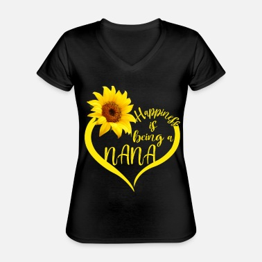 Happiness Happiness Is Being A Nana Sunflower Lover Grandma - Classic Women's V-Neck T-Shirt