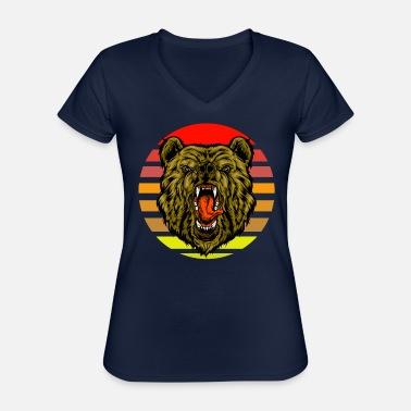 Grizzly bear sunset - Classic Women's V-Neck T-Shirt