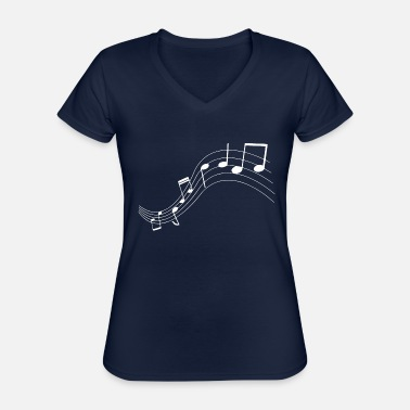 Note Music notes music notes - Classic Women's V-Neck T-Shirt