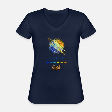 Artsy Vincent Van Gogh Let It Gogh Abstract - Classic Women's V-Neck T-Shirt