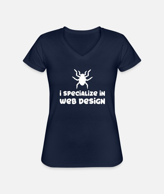 Spin T-Shirts - Spider - Spiders - Spider Owner - Funny - Classic Women's V-Neck T-Shirt navy