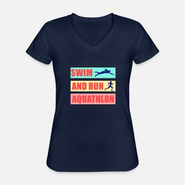 Swim And Run Run and swim my sport Aquathlon - Classic Women's V-Neck T-Shirt