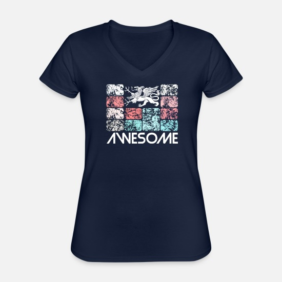 Gift Idea T-Shirts - Awesome Rostock - Classic Women's V-Neck T-Shirt navy