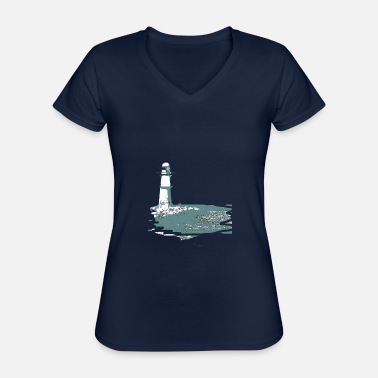 Baltic Sea Lighthouse, sea, beach, coast, design, gift, cool, - Classic Women's V-Neck T-Shirt