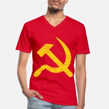 Sickle Hammer and sickle USSR Russia Putin gift - Men's V-Neck T-Shirt