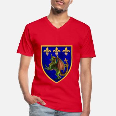 dragon crest and lily flowers - Men's V-Neck T-Shirt