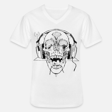 Emo Gamer monster skull with headset - Men's V-Neck T-Shirt