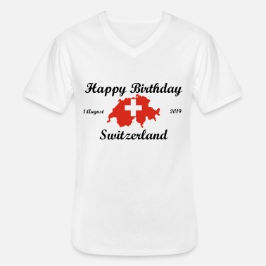 Birthday Happy Birthday Switzerland. 1. August 2019. - Männer-T-Shirt mit V-Ausschnitt
