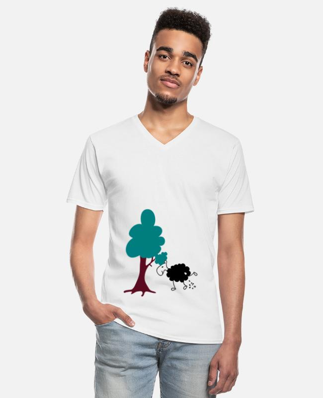 Nature T-Shirts - Schwarzes Schaf Pisser / Sheep in wolf's clothing - Men's V-Neck T-Shirt white