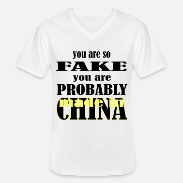 China gemaakt in China - Klassiek mannen T-shirt met V-hals