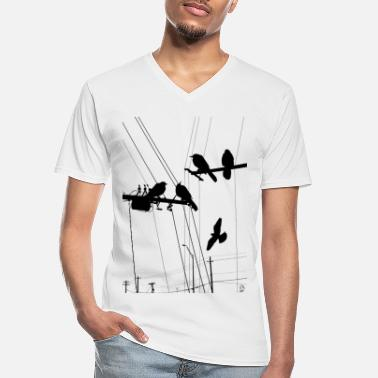 Hipster AD Birds - Men's V-Neck T-Shirt