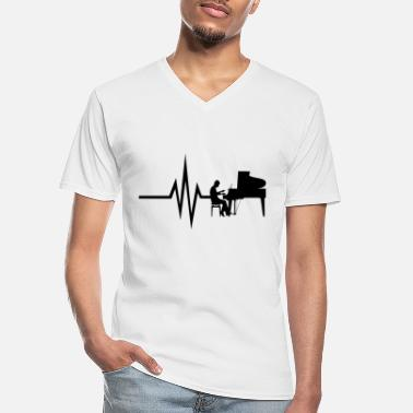 Heart My heart beats for piano - music notes piano - Men's V-Neck T-Shirt