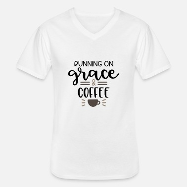 Running on grace and coffee - Men's V-Neck T-Shirt