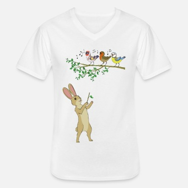 Musical animals - hare and birds - Men's V-Neck T-Shirt