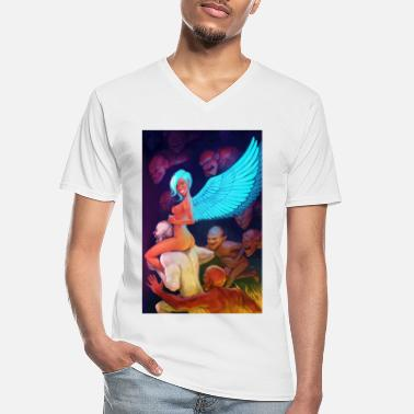 Wings Angel with blue wings rides demons. - Men's V-Neck T-Shirt