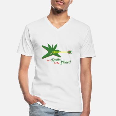 Stoned Rollin Stoned - T-shirt col V Homme