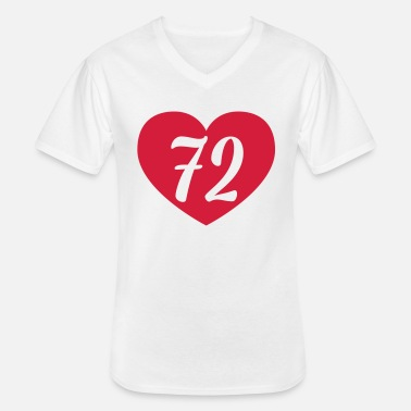 Long 72nd birthday heart - Men's V-Neck T-Shirt