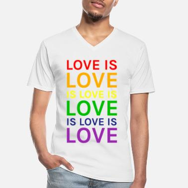 Love is Love is Love is Love Rainbow - Men's V-Neck T-Shirt