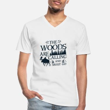 Peace The woods are calling and i must go - Klassiek mannen T-shirt met V-hals