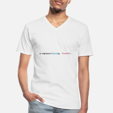 Web replace hate with love - Männer-T-Shirt mit V-Ausschnitt