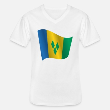 Saint Vincent And The Grenadines Waving Flag of Saint Vincent and the Grenadines - Men's V-Neck T-Shirt