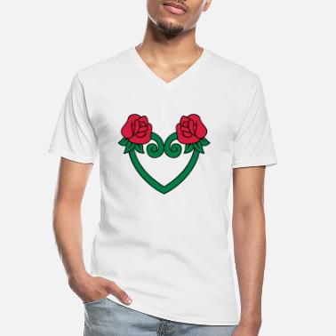 rose flower heart 3c - Men's V-Neck T-Shirt