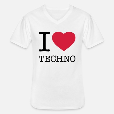 House I LOVE TECHNO - T-shirt col V Homme