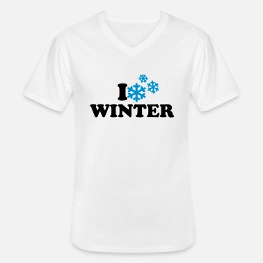I Love Winter I love winter - Klassisk T-shirt med V-ringning herr