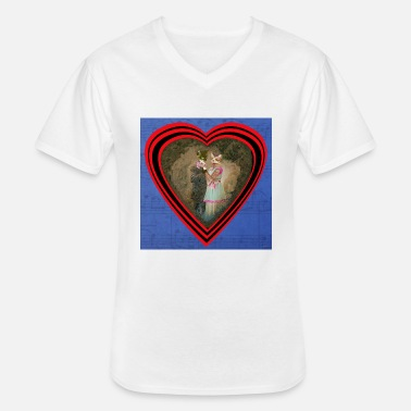 1900 Cats in love retro 1900 partition. - Men's V-Neck T-Shirt