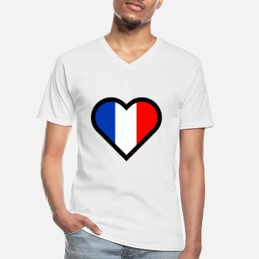 Romantic French heart tricolor flag France country love - Men's V-Neck T-Shirt