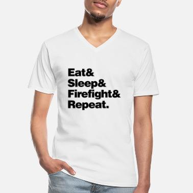 Fighter eat sleep firefight and repeat - Men's V-Neck T-Shirt
