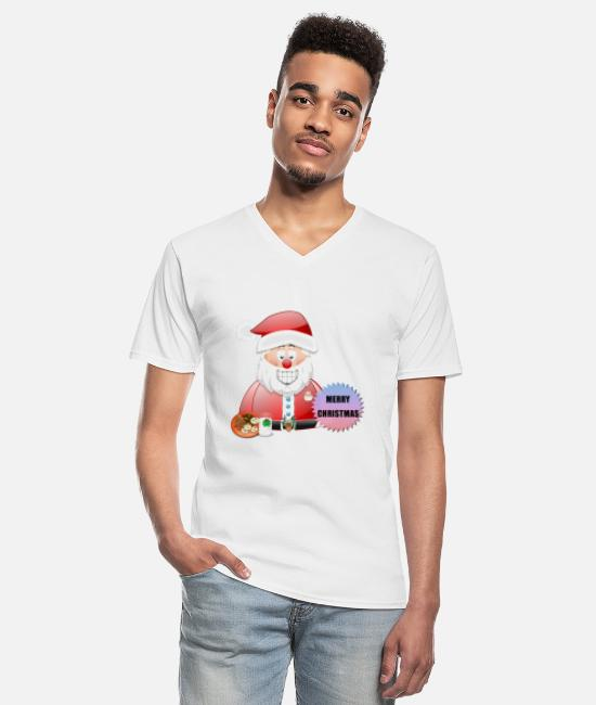 Santa T-Shirts - Santa 16 Merry Christmas - Men's V-Neck T-Shirt white