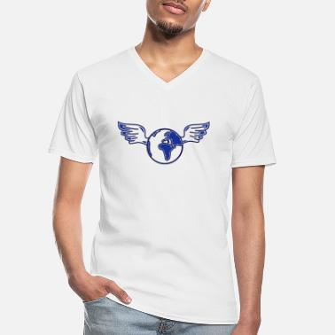 Ecology earth with wings - Men's V-Neck T-Shirt