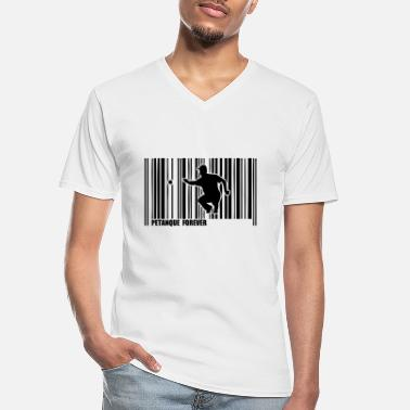 Petanque petanque ball player barcode - Men's V-Neck T-Shirt