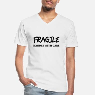 Handle Fragile - Handle with care - Klassiek mannen T-shirt met V-hals