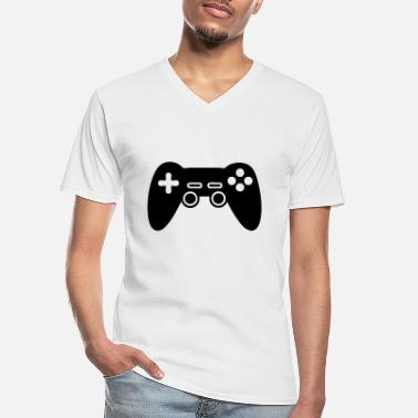 Console video game console, joystick - Klassiek mannen T-shirt met V-hals