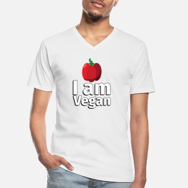 Fruit I am Vegan Peppers - Illustration - Men's V-Neck T-Shirt