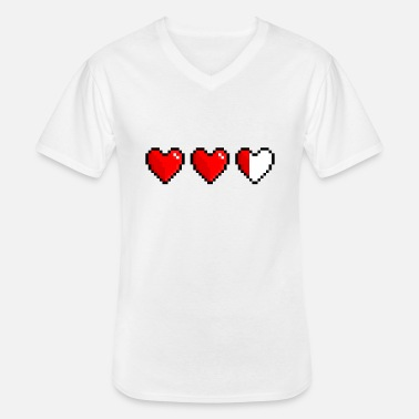 Health Pixel heart, low health - Klassisk T-shirt med V-ringning herr