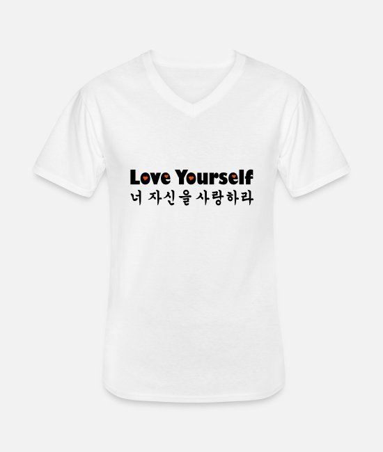 Brown-Eyed-girls-IU-Girls-Day-4Minute-DaVichi-OhMyGirl-Dal-Shabet-AfterSchool-Red Velvet-EXID-CL T-Shirts - ❤♫Love Yourself in Korean-Hangeul♪❤ - Men's V-Neck T-Shirt white
