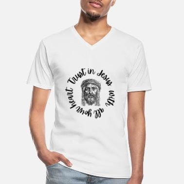 Vatican Trust in Jesus with all your heart - Men's V-Neck T-Shirt