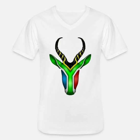 Africa T-Shirts - South African Springbok 2 - Men's V-Neck T-Shirt white