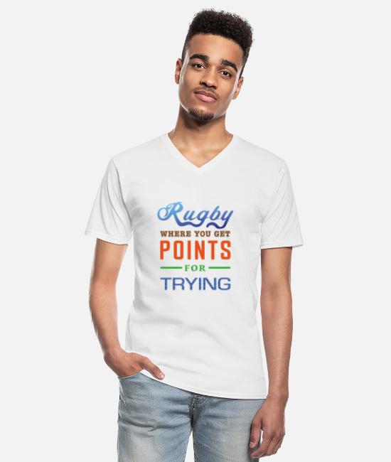 Design T-Shirts - Rugby, where you get points for trying - Men's V-Neck T-Shirt white
